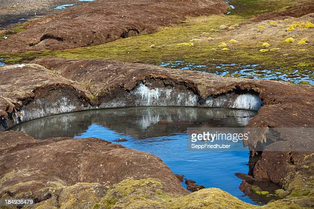 ice under permafrost soil in spitzbergen - permafrost stock pictures, royalty-free photos & images