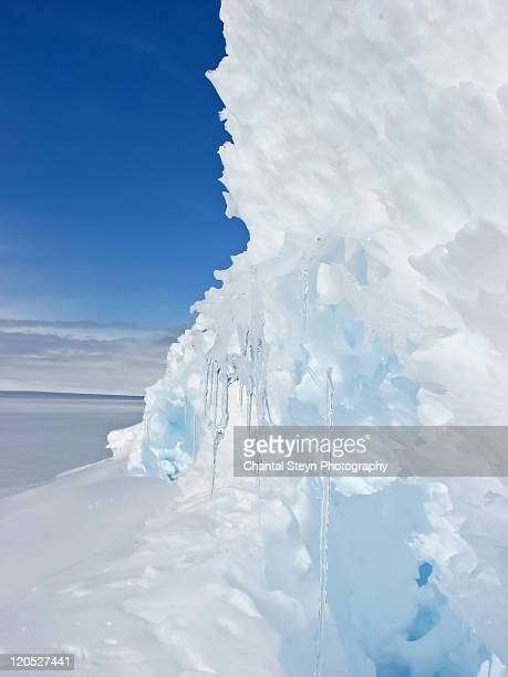 ice wall and crevasse in antarctica - crevasse stock photos and pictures