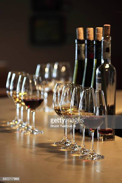 ice wine tasting session - wine tasting stock pictures, royalty-free photos & images
