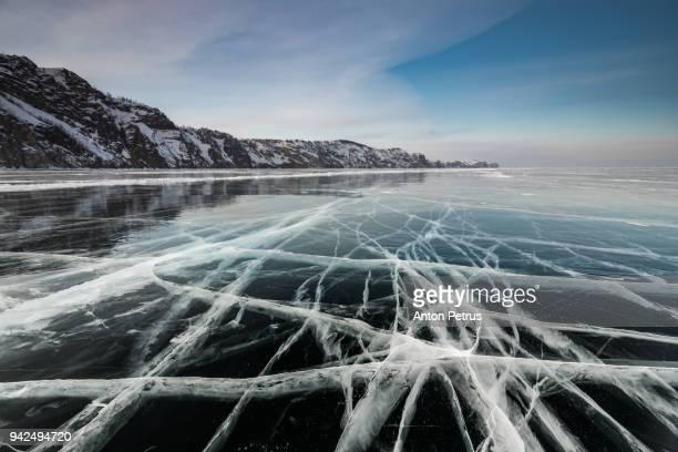 Ice with cracks in Lake Baikal in winter