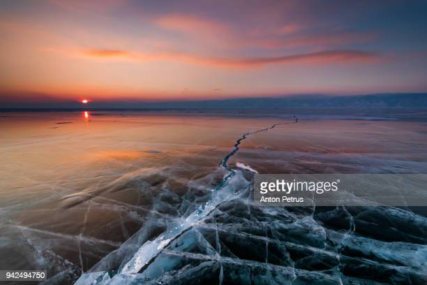 Ice with cracks in Lake Baikal in winter