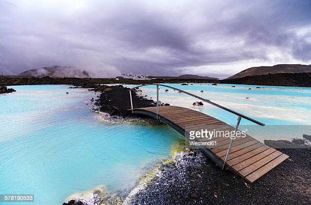 Iceand, Blue Lagoon under cloudy sky