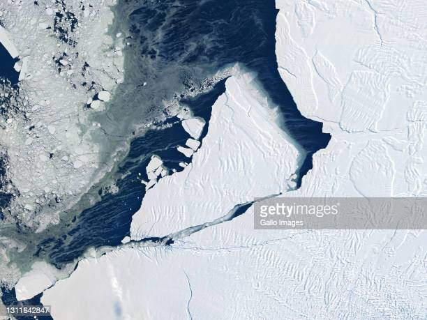 Iceberg A-74 calved from Antarctica's Brunt Ice Shelf in February 2021.