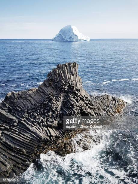 Iceberg and basalt columns in Kuannit on Diko Island