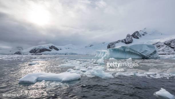 iceberg and landscape in paradise bay in antarctica - 南極海 ストックフォトと画像
