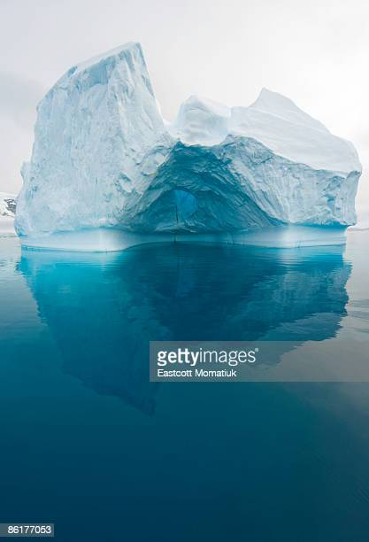 iceberg and reflections, antarctic peninsula - iceberg photos et images de collection
