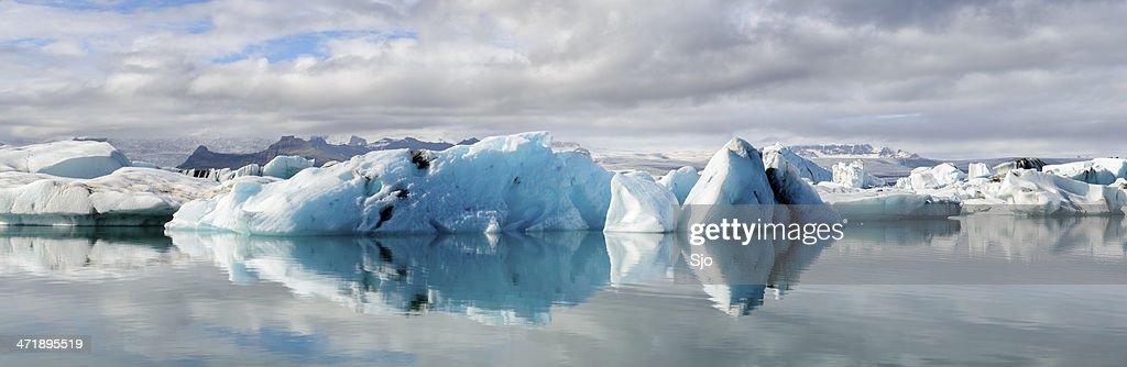 Iceberg glacier lagoon panorama : Stock Photo