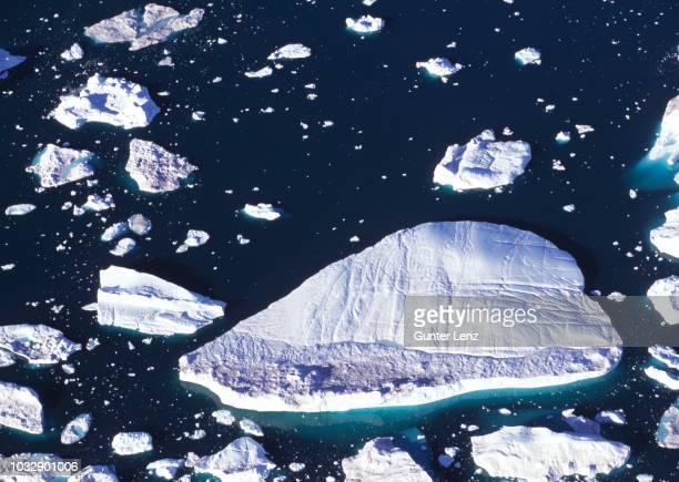 iceberg, kangia ice fjord, ilulissat, jakobshavn glacier, unesco world heritage site, aerial view, greenland - ilulissat stock-fotos und bilder