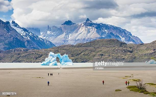 Iceberg Lago gris en parque nacional de Torres del Paine, Chile