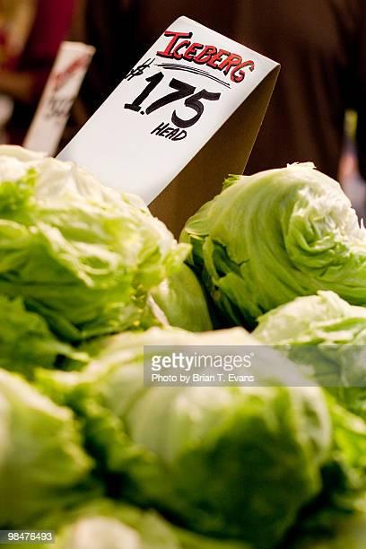 Iceberg Lettuce for Sale at a Market
