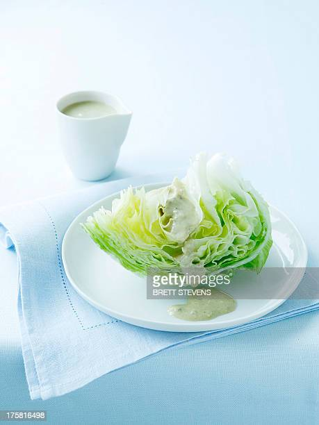 Iceberg lettuce with blue cheese dressing