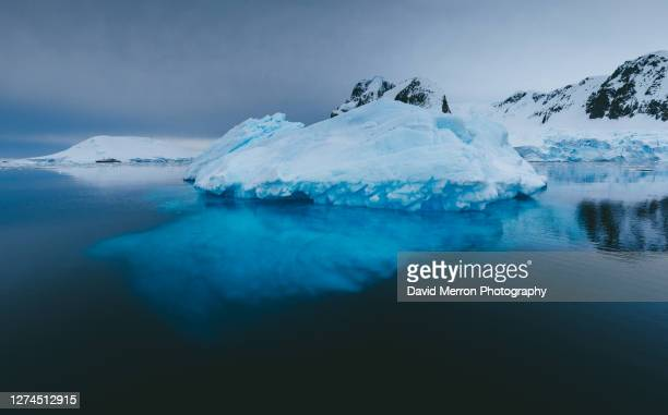 iceberg sits still on a calm day in antarctica - antarctica stock pictures, royalty-free photos & images