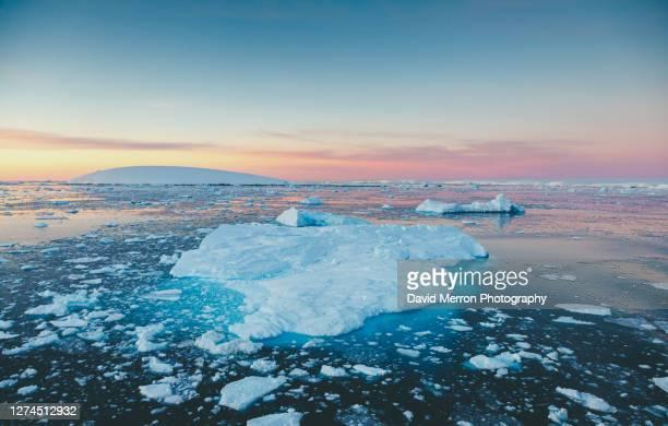 iceberg sits still on a calm day in antarctica - 南極大陸探検 ストックフォトと画像
