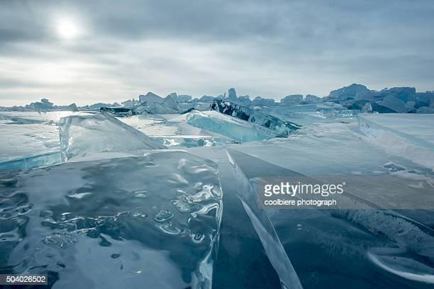 Iceberg stacking over lake baikal