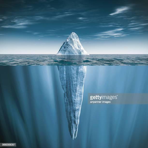 iceberg swimming in the sea - iceberg foto e immagini stock