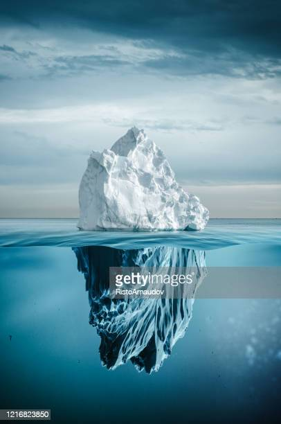 iceberg with above and underwater - berg stock pictures, royalty-free photos & images
