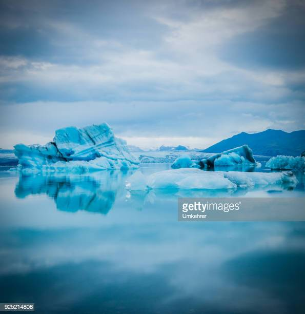 Iceberg with bright blue ice in iceland