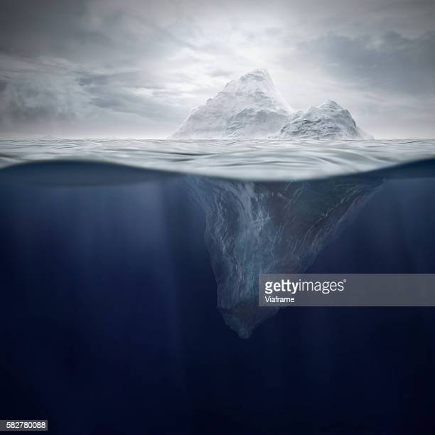 iceberg with cloudy sky - berg stock pictures, royalty-free photos & images