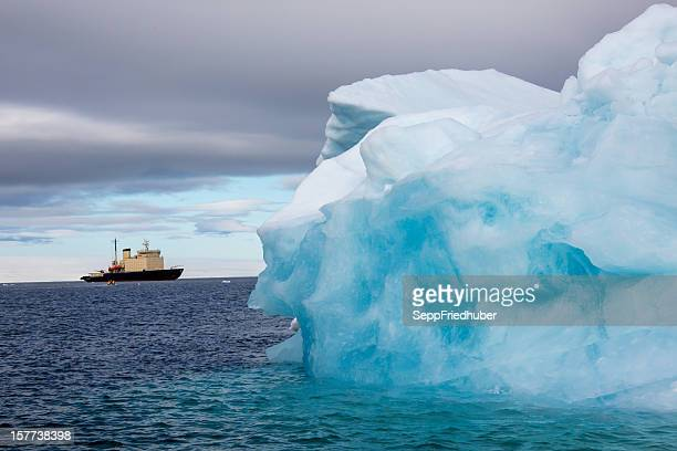 Iceberg with reflection drifting in the arctic ozean