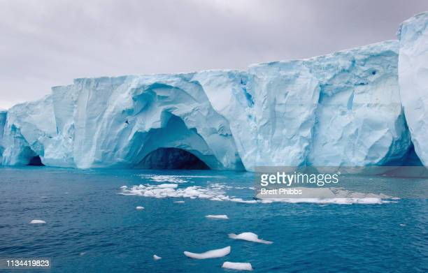 icebergs amongst the ice floe in the southern ocean, 180 miles north of east antarctica, antarctica - ijsschots stockfoto's en -beelden