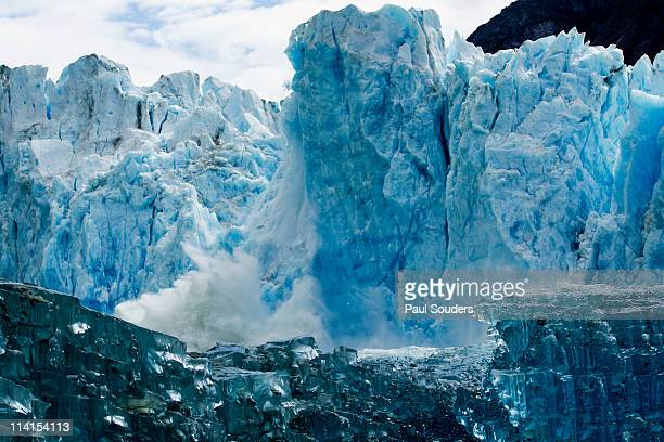icebergs and dawes glacier, alaska - glacier collapsing stock pictures, royalty-free photos & images