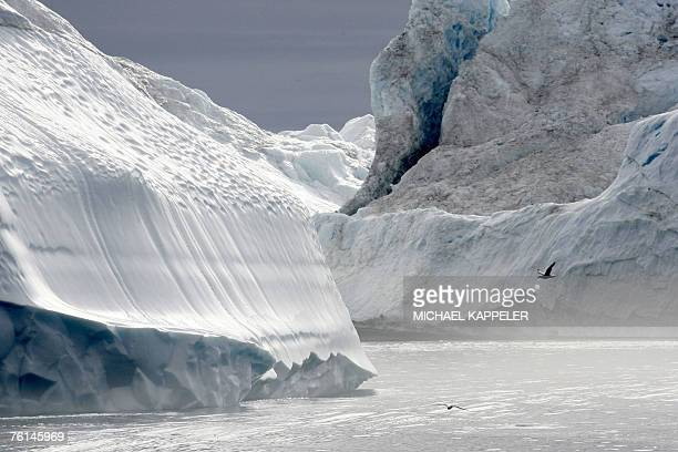 Icebergs are seen along a fjord near Ilulissat in Greenland 16 August 2007 German Chancellor Angela Merkel and German Environment Minister Sigmar...