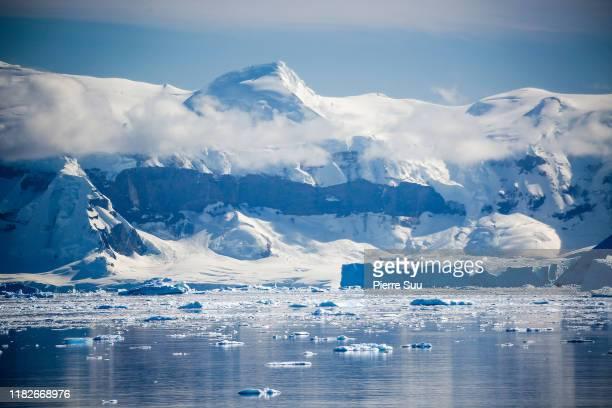 Icebergs are seen floating near 'King George' island on February 24 2019 in Antarctica sea.