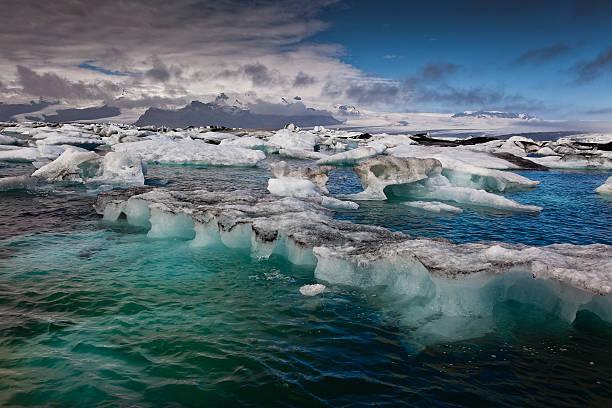 Icebergs carved from Breidamerkurjokull in Jokulsarlon glacial lagoon.