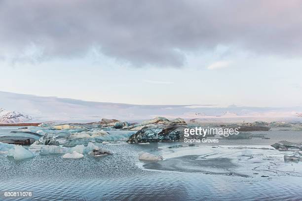 Icebergs fill Jokulsarlon lagoon which is at the foot of the vast Breidamerkurjokull glacier in South Iceland on January 2 2017 in Reykjavik Iceland