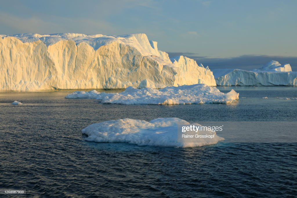 Icebergs floating in the Icefjord in Greenland : Stock-Foto
