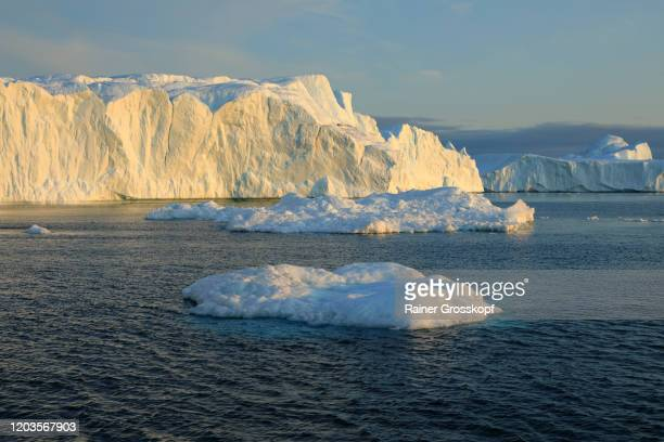 icebergs floating in the icefjord in greenland - rainer grosskopf stock pictures, royalty-free photos & images