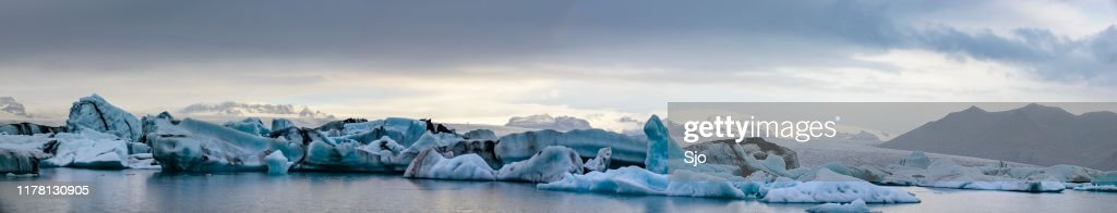 Icebergs floating  in the Jokulsalon glacier lagoon in Iceland : Stock Photo