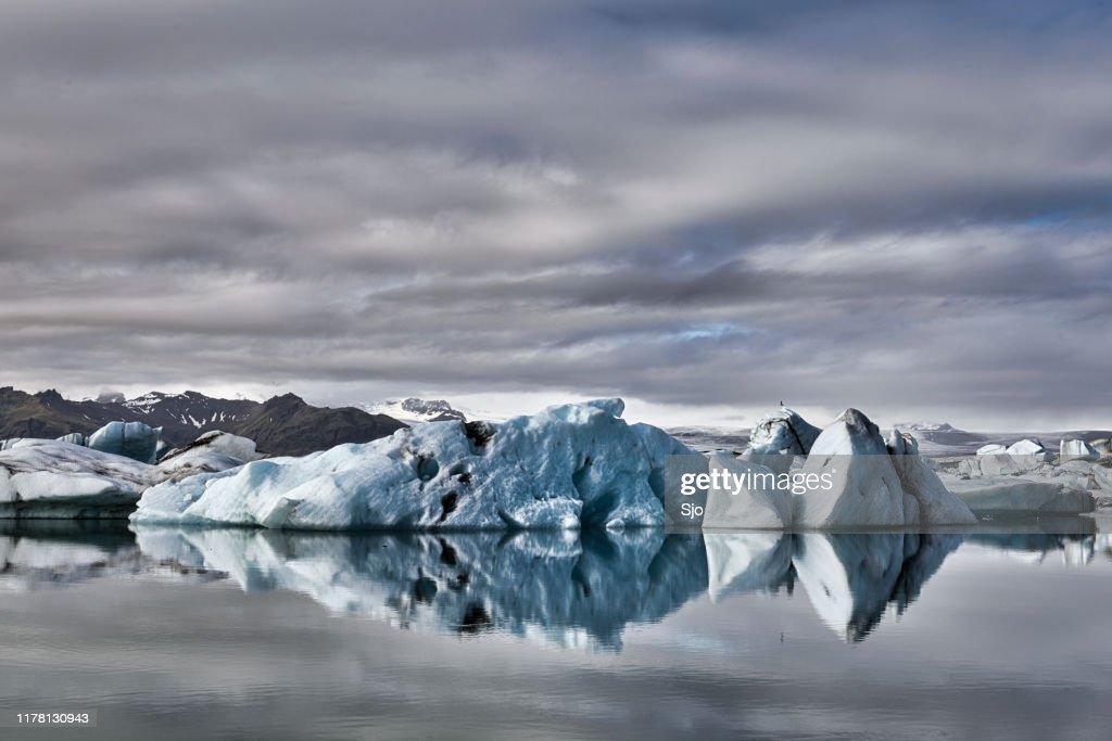 Icebergs floating  in the Jokulsalon glacier lagoon in Iceland : Stock Photo