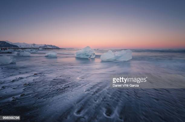 Icebergs Floating on Icy Beach at Sunset, South Iceland