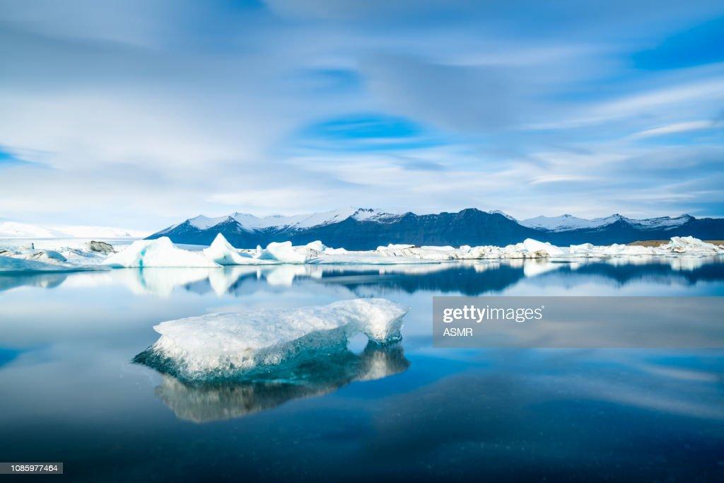 Icebergs floating on the beach Iceland : Stock Photo