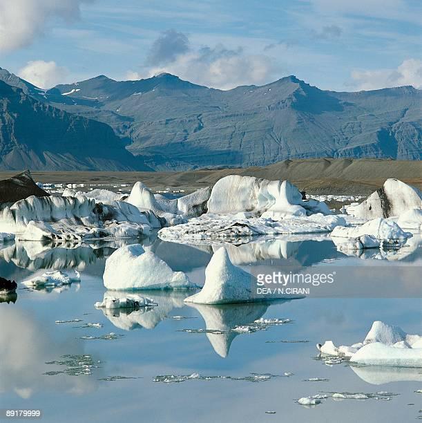 Icebergs floating on water in a lake Jokulsarlon Iceland