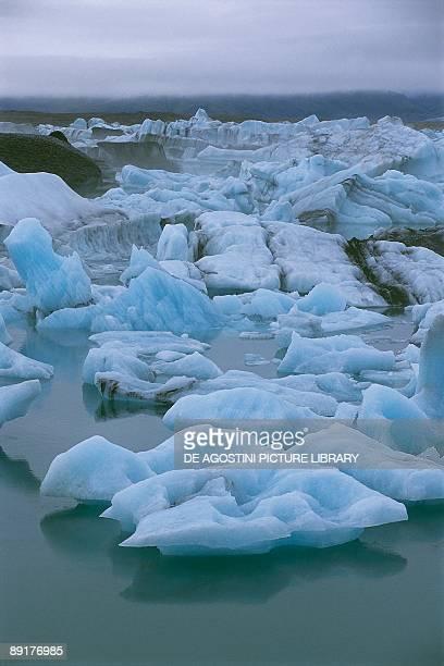 Icebergs in a lagoon Jokulsarlon Lagoon Breidamerkurjokull Glacier Austurland Iceland