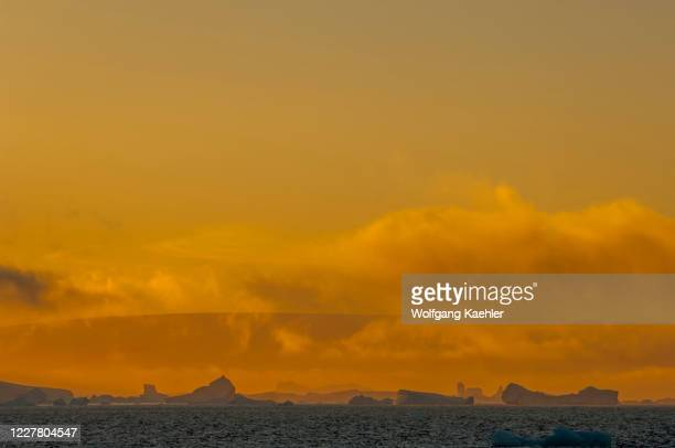 Icebergs in evening light drifting in the Antarctic Sound near Hope Bay on the tip of the Antarctic Peninsula.