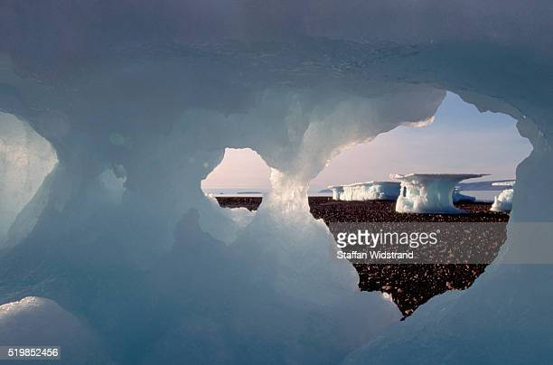 Icebergs in Greenland Fjord