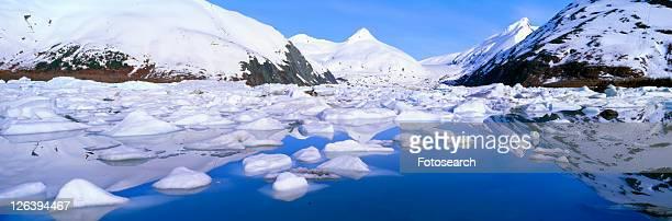 icebergs in portage lake and portage glacier - tundra foto e immagini stock