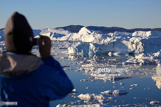 Icebergs in the open sea