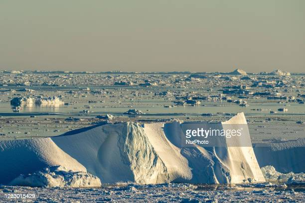 Icebergs near Ilulissat, Greenland. Climate change is having a profound effect in Greenland with glaciers and the Greenland ice cap retreating.