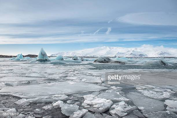 Icebergs on the shore of Jokulsarlon glacier lagoon, Iceland.