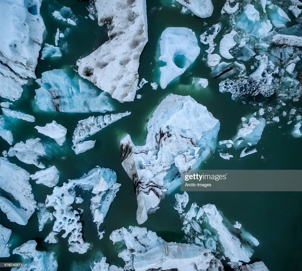 Icebergs seen from above, Iceland : Stock Photo