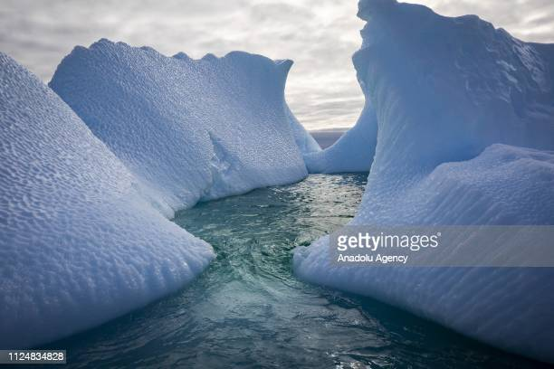 Icebergs surround Galindez Island in Antarctica on February 9 2019 Turkey organized National Science Antarctica expedition for the 3rd time...