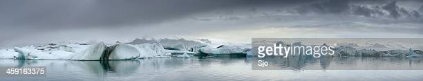 Icebergs wide panorama
