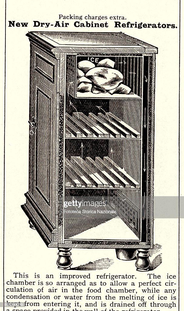 UNITED KINGDOM - ENGLAND 1907: Icebox, to store and keep cool foods : News Photo
