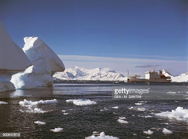 Icebreaker among the icebergs Paradise Bay Antarctic Peninsula Antarctica