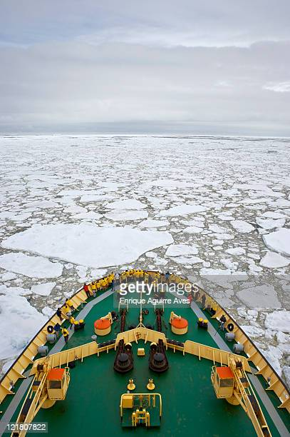 Icebreaker (Kapitan Khlebnikov) cruising through pack ice, Antarctic Sound, Antarctica