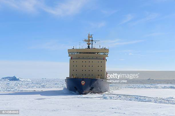 Icebreaker on the way through the pack ice